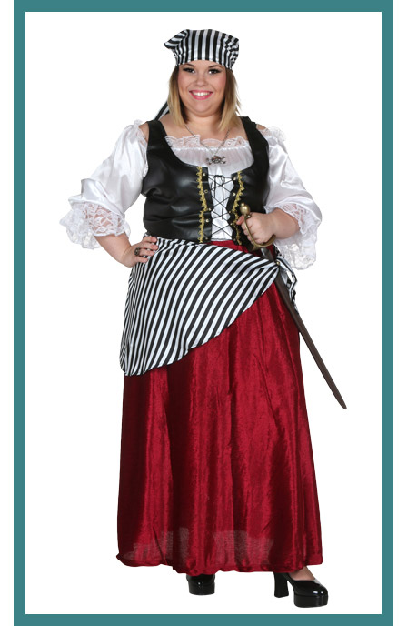 Womens Plus Size Sassy Pirate Maiden Costume