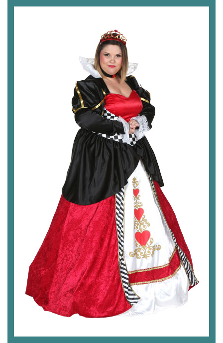 Full Coverage Womens Plus Size Queen of Hearts Costume