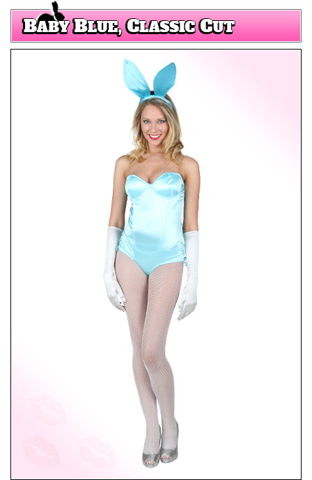 Playboy Bunny Costume with Baby Blue Fabric, Classic Cut