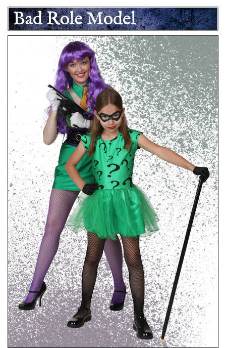 adult womens joker and girls riddler costume duo - Joker Halloween Costume Kids