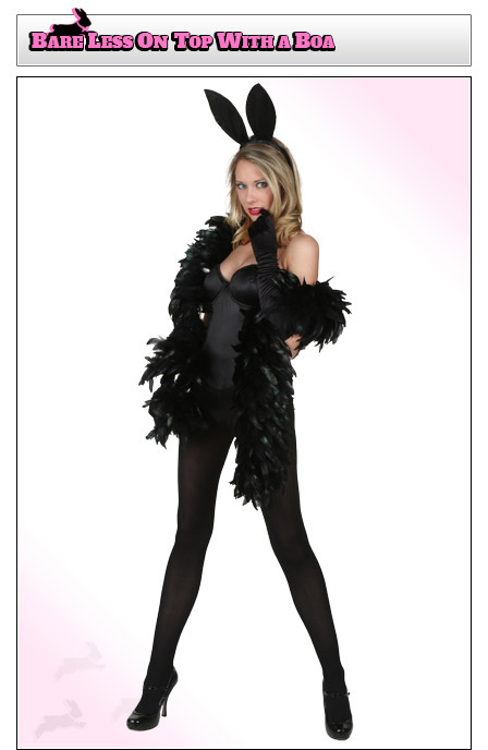 playboy bunny costume coverage add a boa - Halloween Costumes Playboy