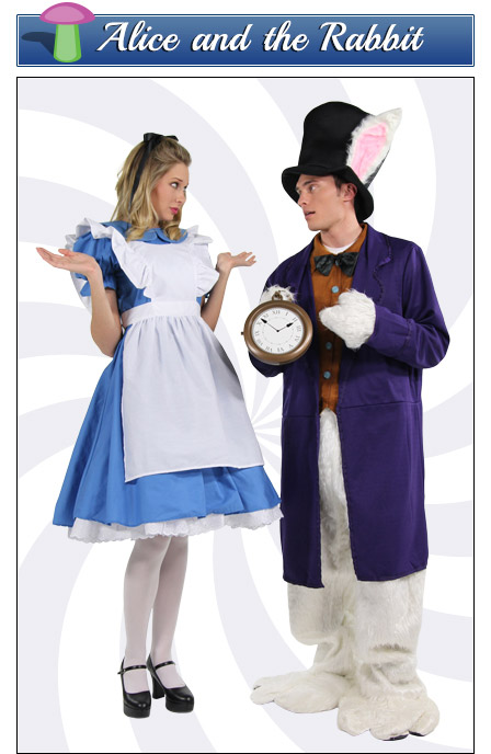 Alice and the White Rabbit Couples Costume