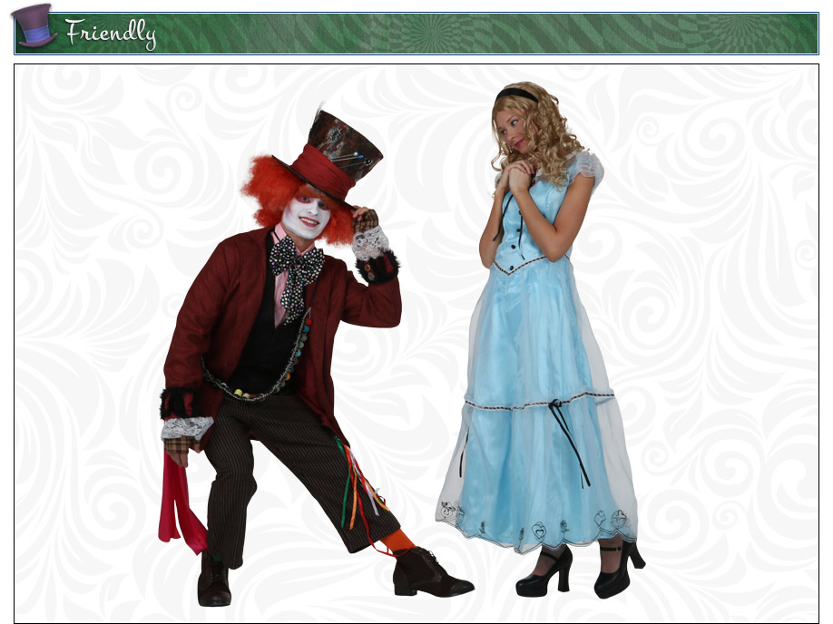 Tim Burton Mad Hatter and Alice Couples Costume