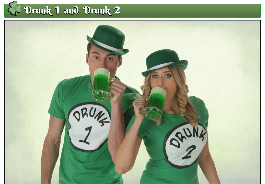St. Patrick's Day Drunk 1 and Drunk 2 Costumes