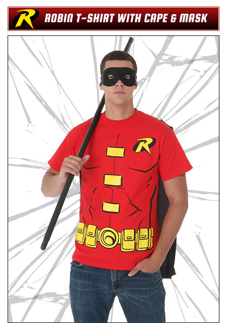 Robin Costume T-Shirt with Cape and Mask