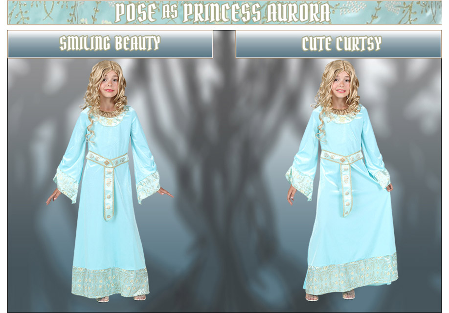 Pose as Princess Aurora from Maleficent