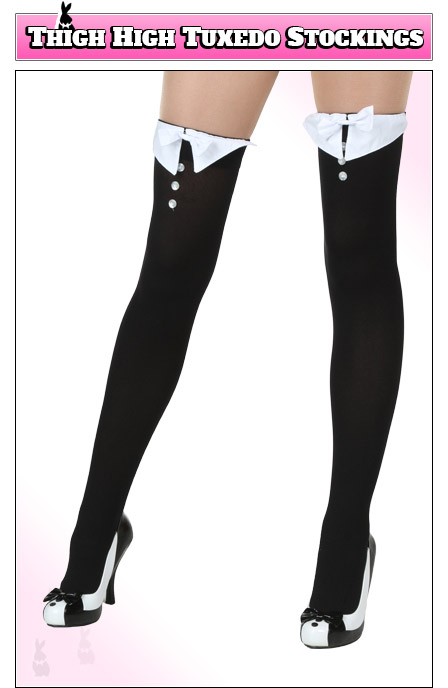 Playboy Bunny Costume Accessory - Tuxedo Thigh Highs