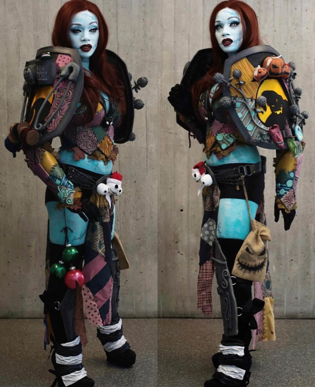 """Maweezy Cosplay as """"Battle Sally"""", a Nightmare Before Christmas mash-up."""