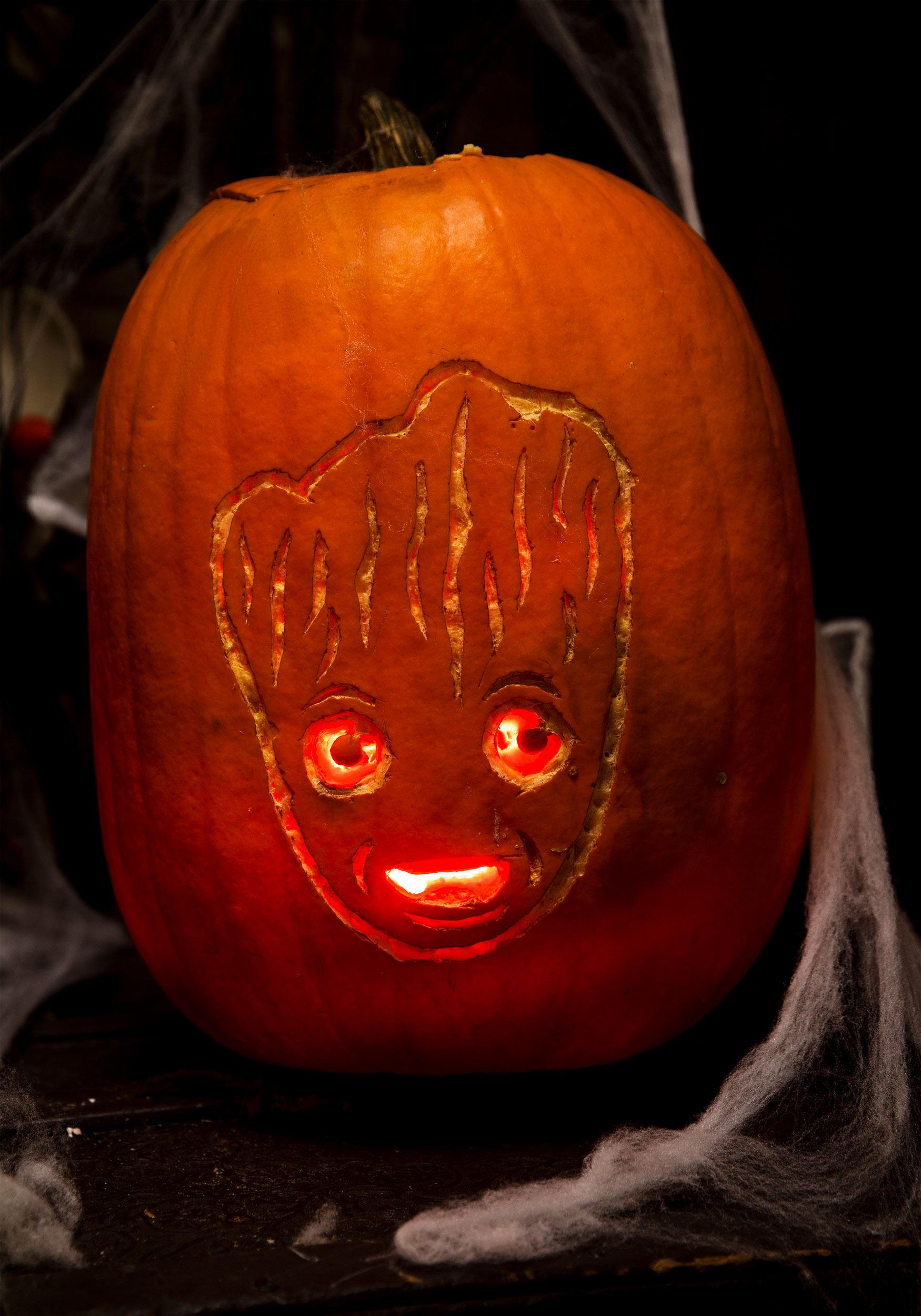 pumpkin template groot  Pop Culture Pumpkins: Free Stencils for All Ages [Printables ...