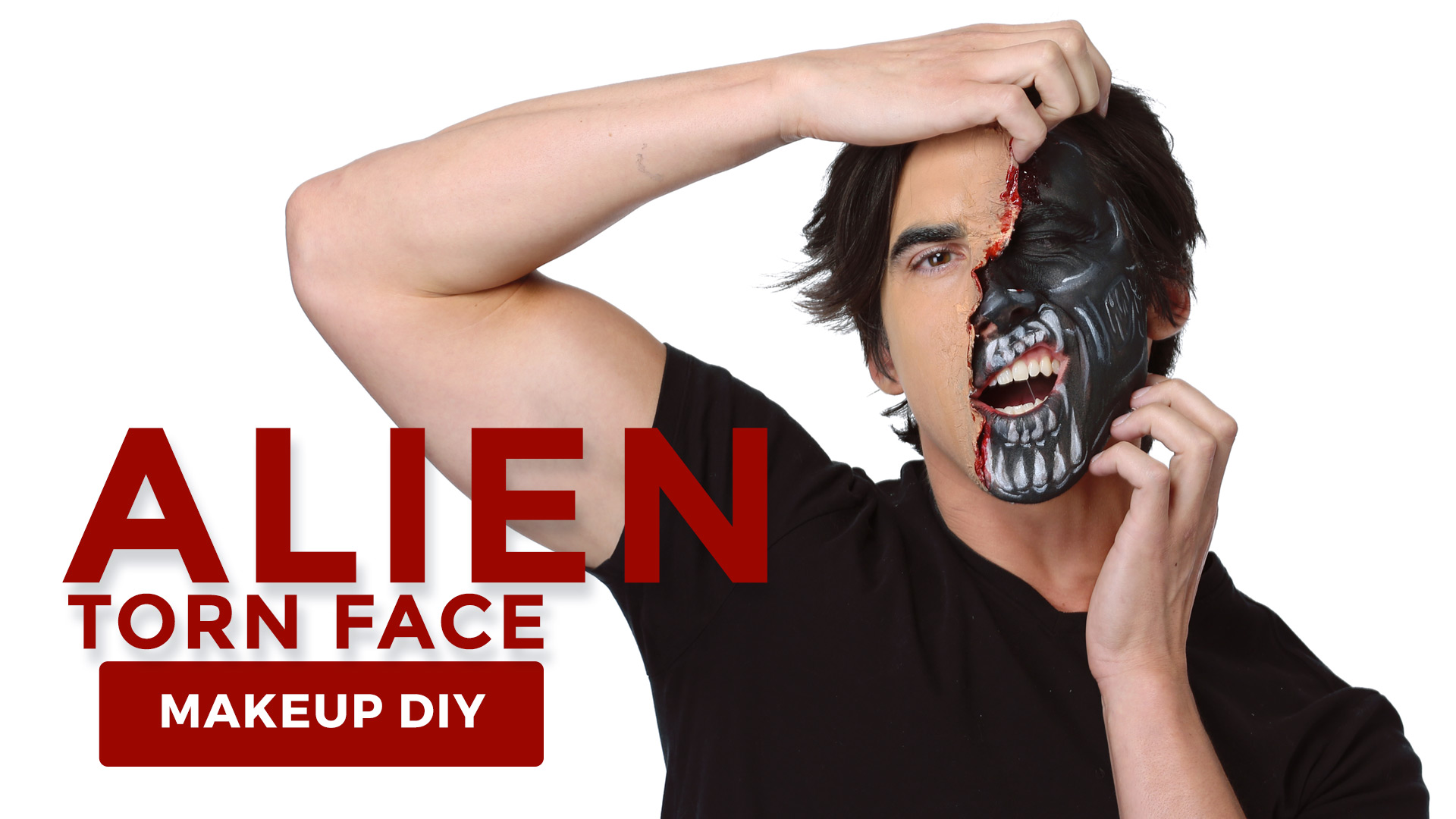 Alien-Makeup-Tutorial-with-Torn-Face Effects