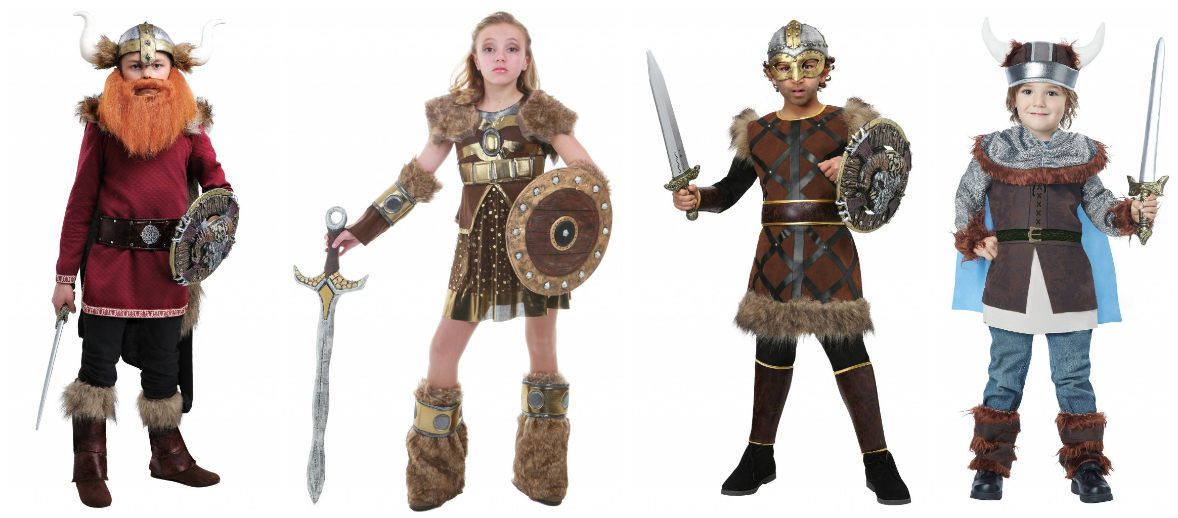 Historical Victorious Viking Warrior Girl Child Costume