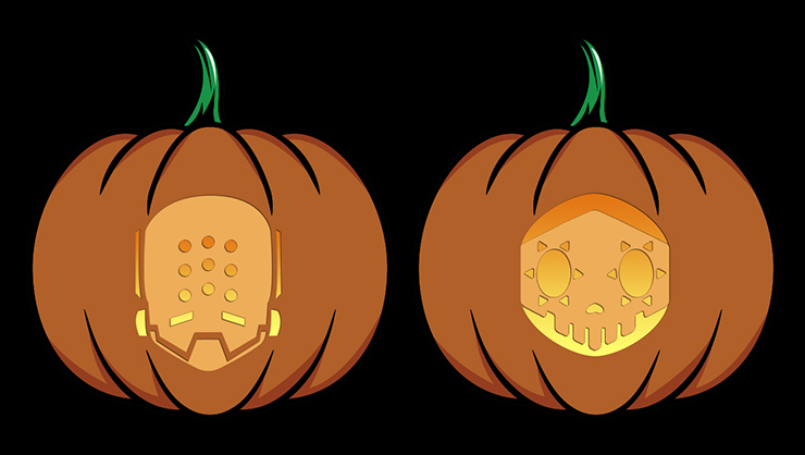 Overwatch Zen and Sombra Pumpkin Carving Stencils