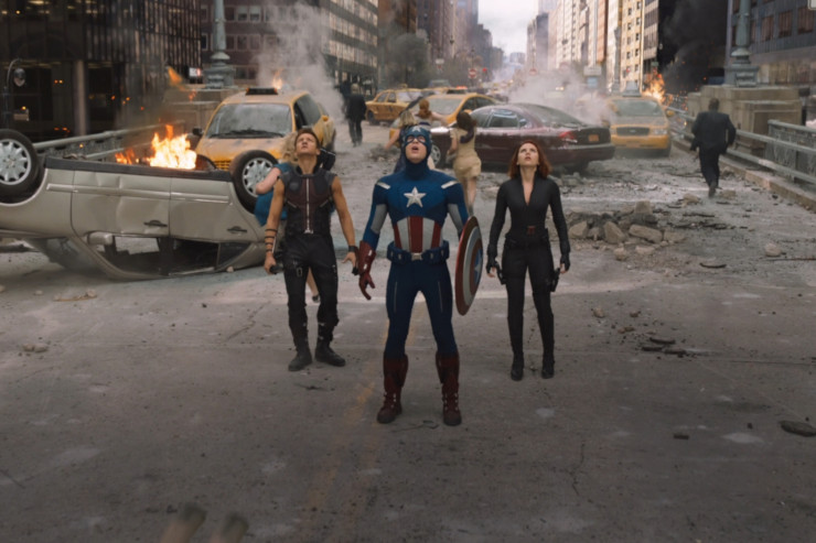 Hawkeye, Captain America, and Black Widow in The Avengers
