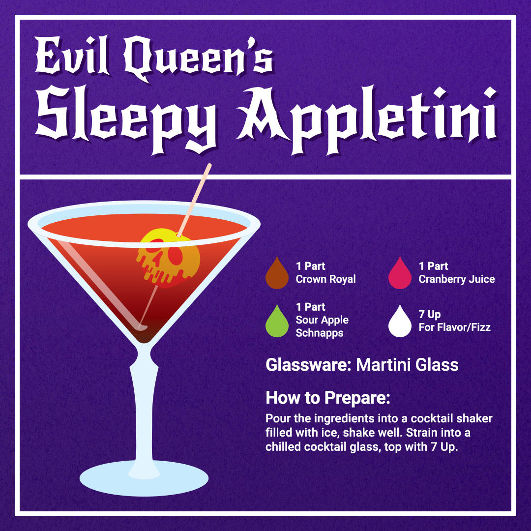 Disney Cocktails Mocktails Evil Queen's Sleepy Appletini Recipe Card
