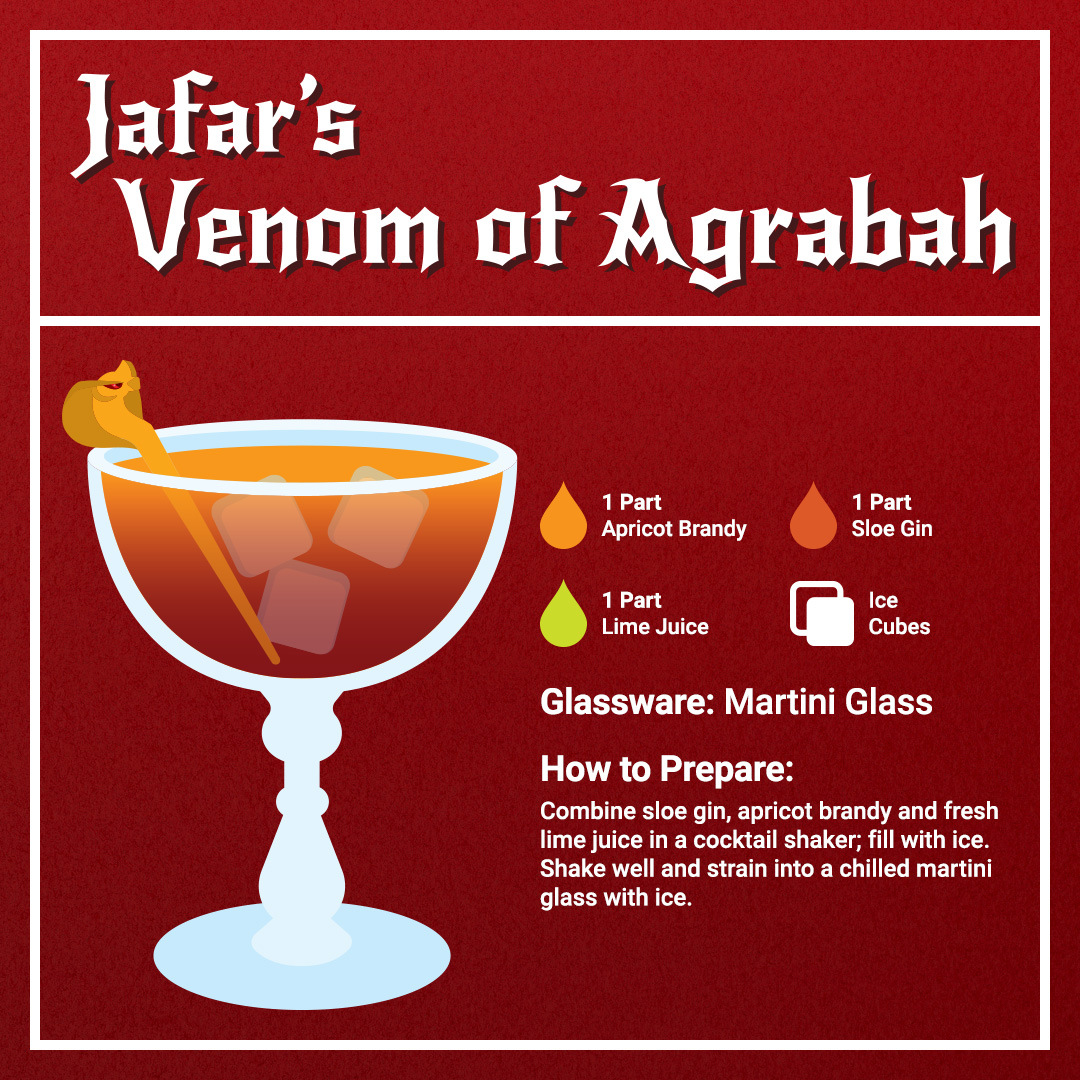 Disney Cocktails Mocktails Jafar's Venom of Agrabah Recipe Card