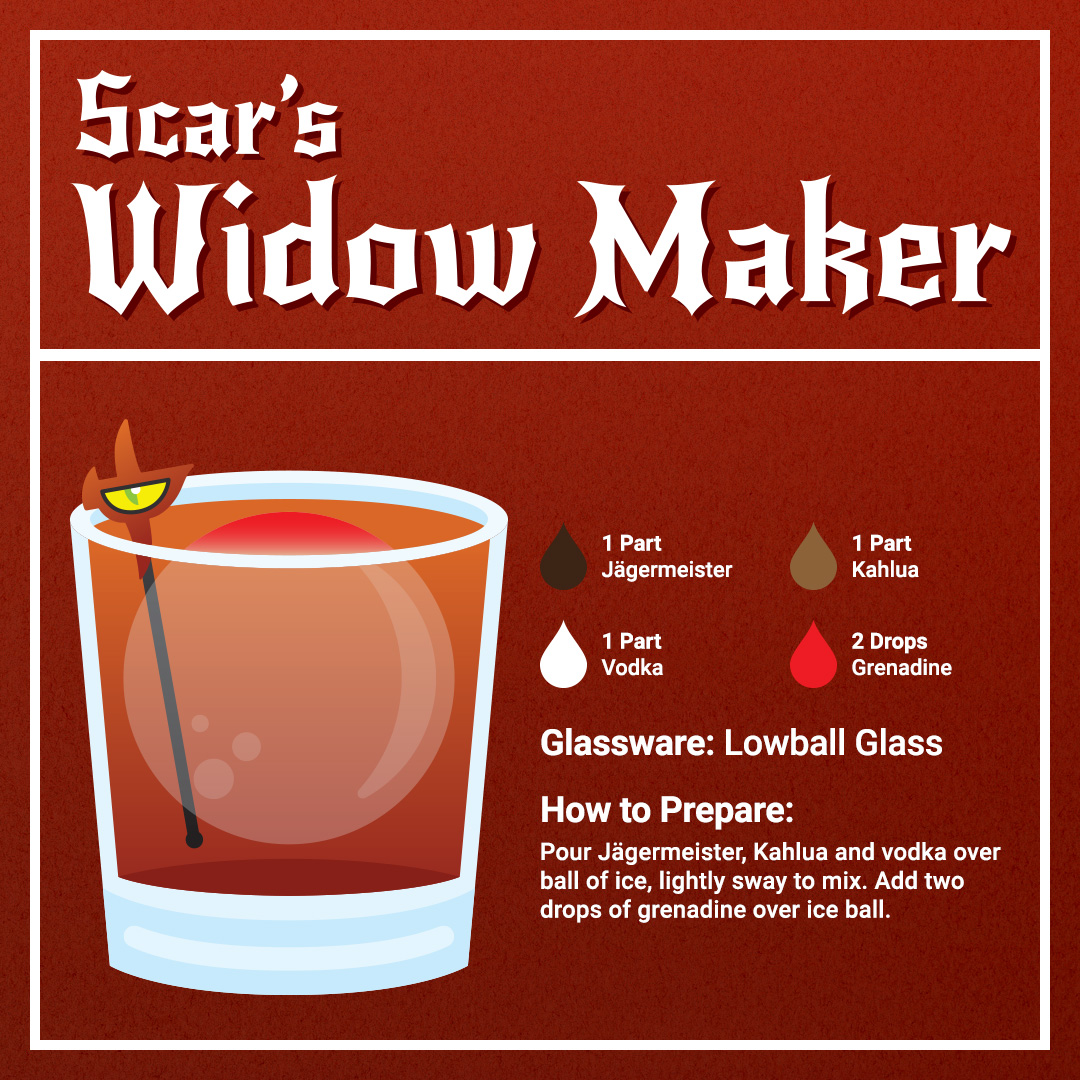 Disney Cocktails Mocktails Scars' Widow Maker Recipe Card