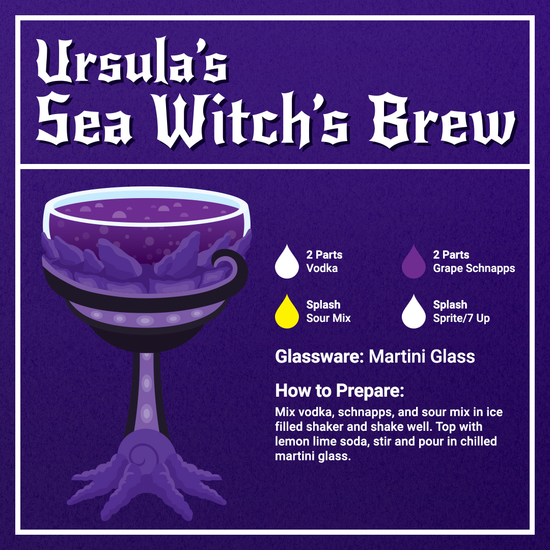 Disney Cocktails Mocktails Ursula's Witch's Brew Recipe Card