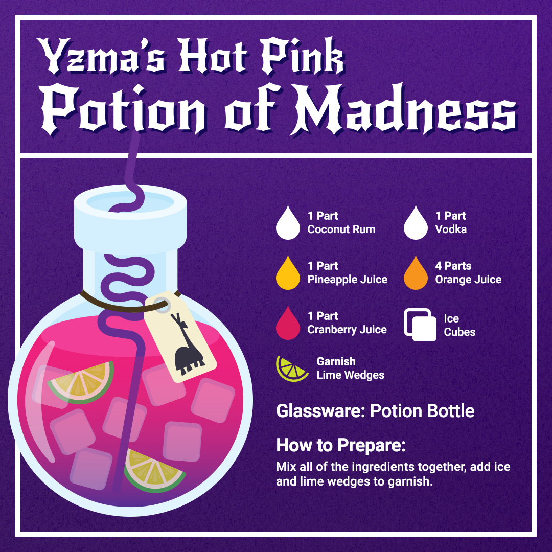 Disney Cocktails Mocktails Yzma's Hot Pink Potion of Madness Recipe Card