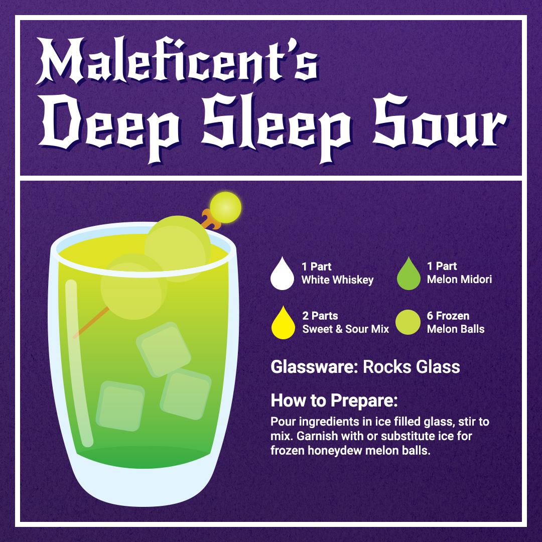 Maleficent's Deep Sleep Sour Drink Recipe Card