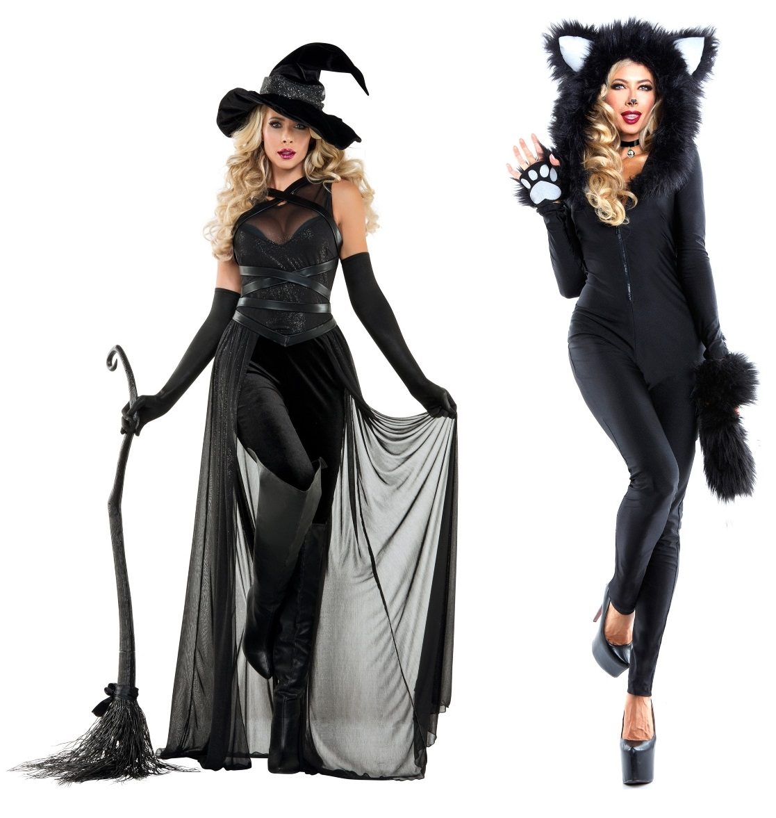 Black Cat and Witch Couples Costumes