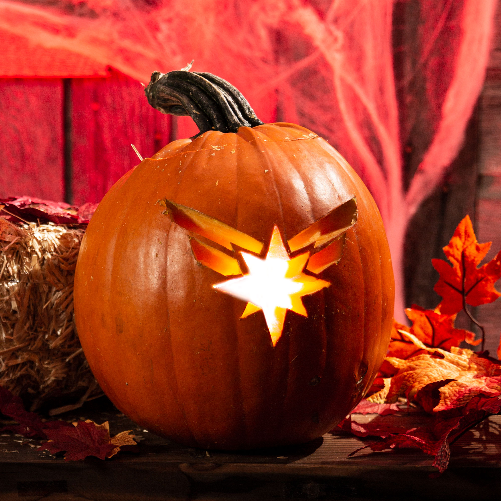 Captain Marvel Logo Pumpkin Design