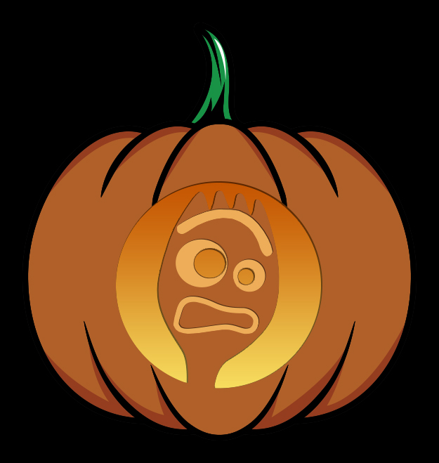 Forky Pumpkin Carving Stencil Mockup
