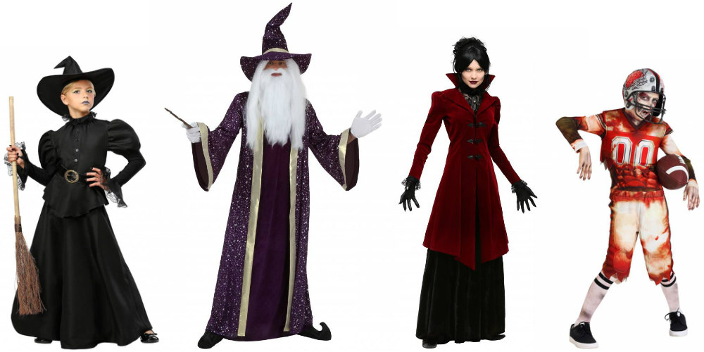 Traditional Halloween Costumes: Witch, Wizard, Vampire, and Zombie