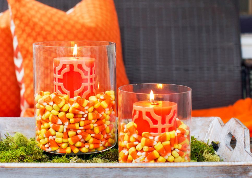 DIY Halloween Candy Corn Candle Holders