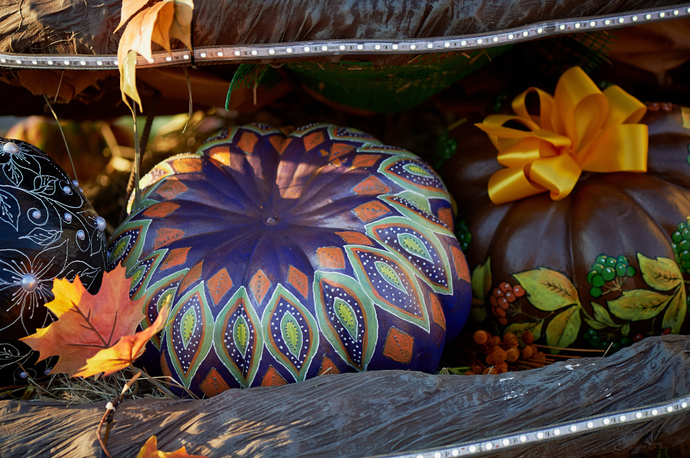 Painted Pumpkin Halloween Decorations