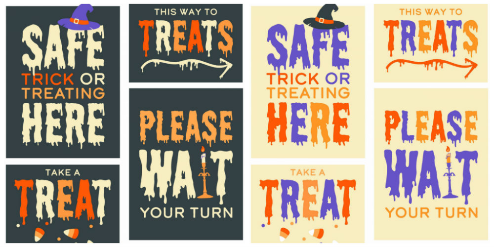 Safe Trick or Treating Printable Signs