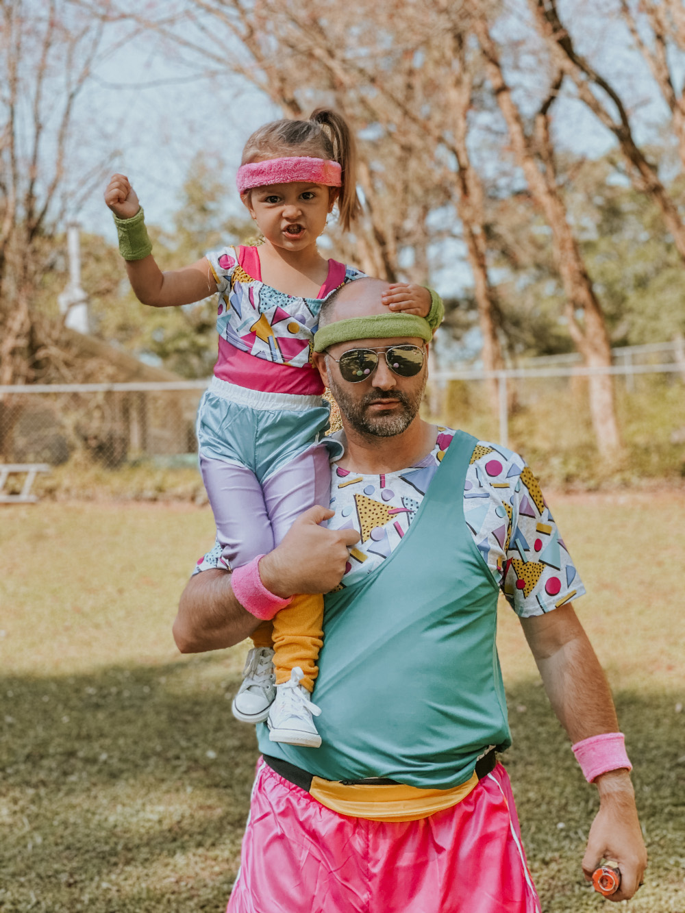 Daddy and Me 80s Workout Costumes