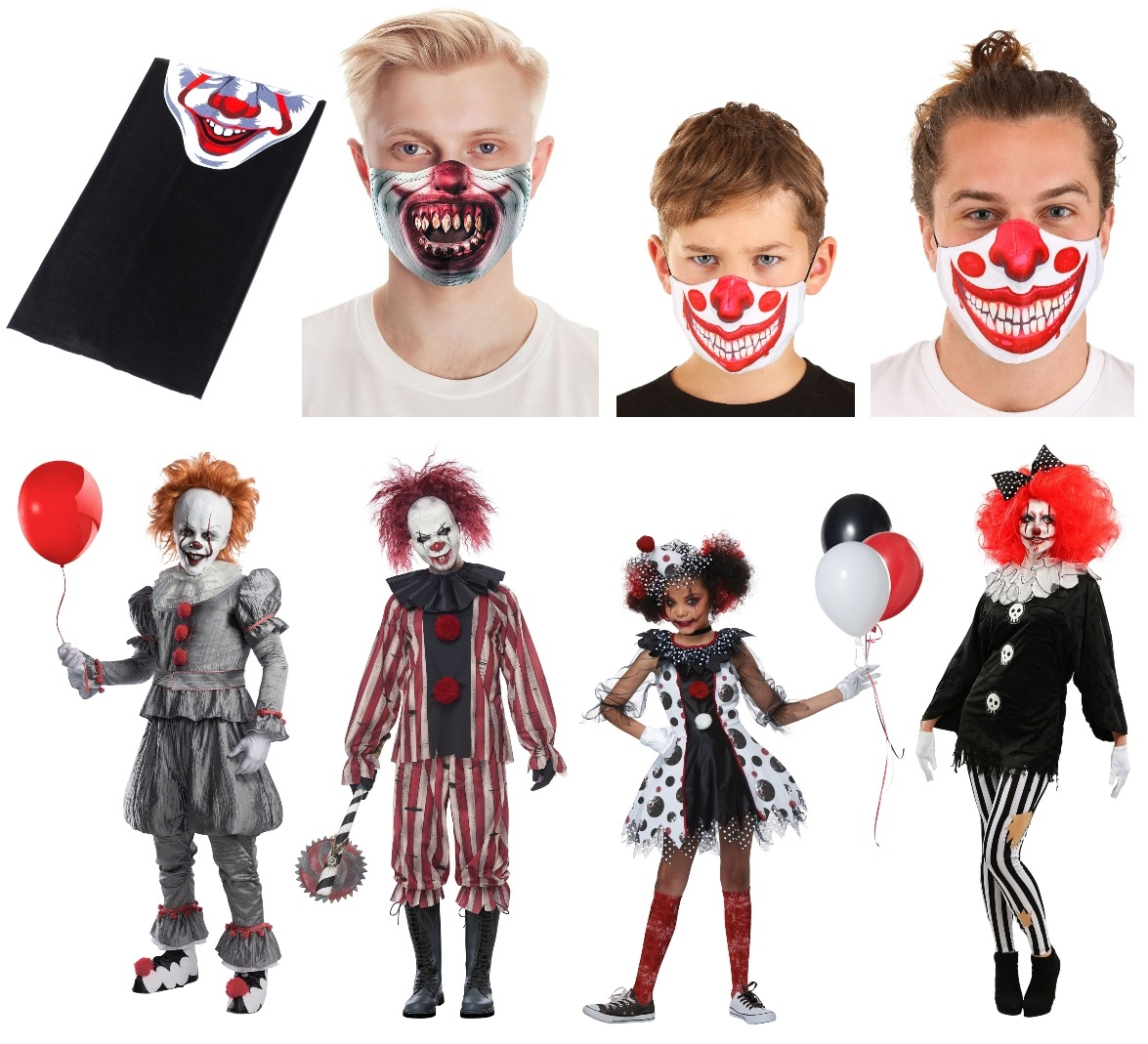 Scary Clown Masks and Costumes