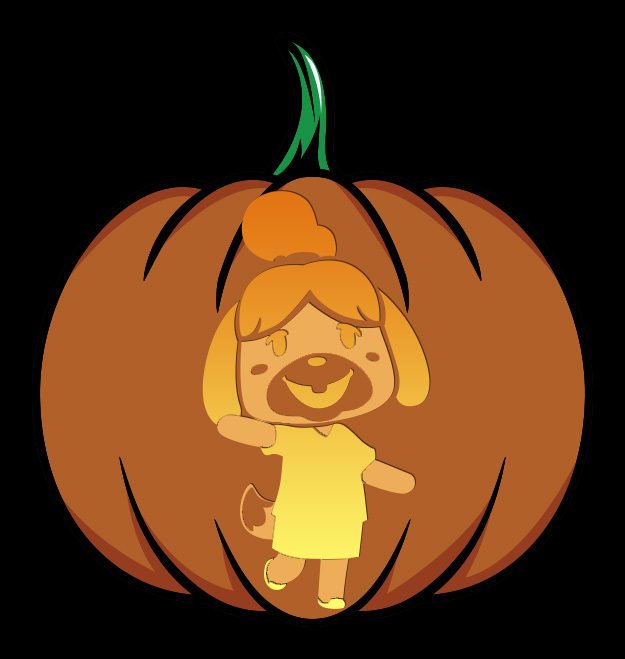 Animal Crossing Isabelle Pumpkin Design