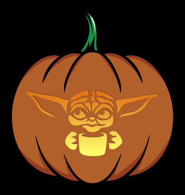 Baby Yoda With Cup Pumpkin Design