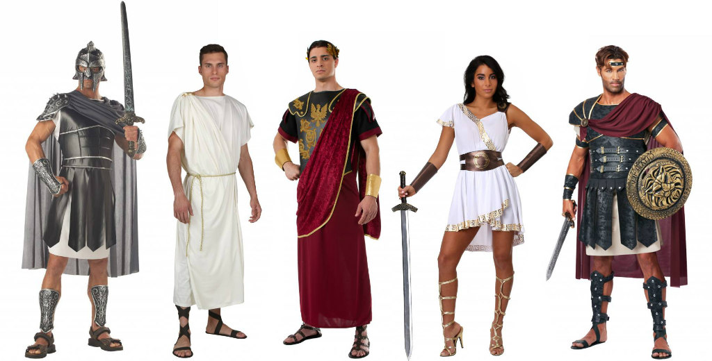 Roman and Greek group of 5 costumes