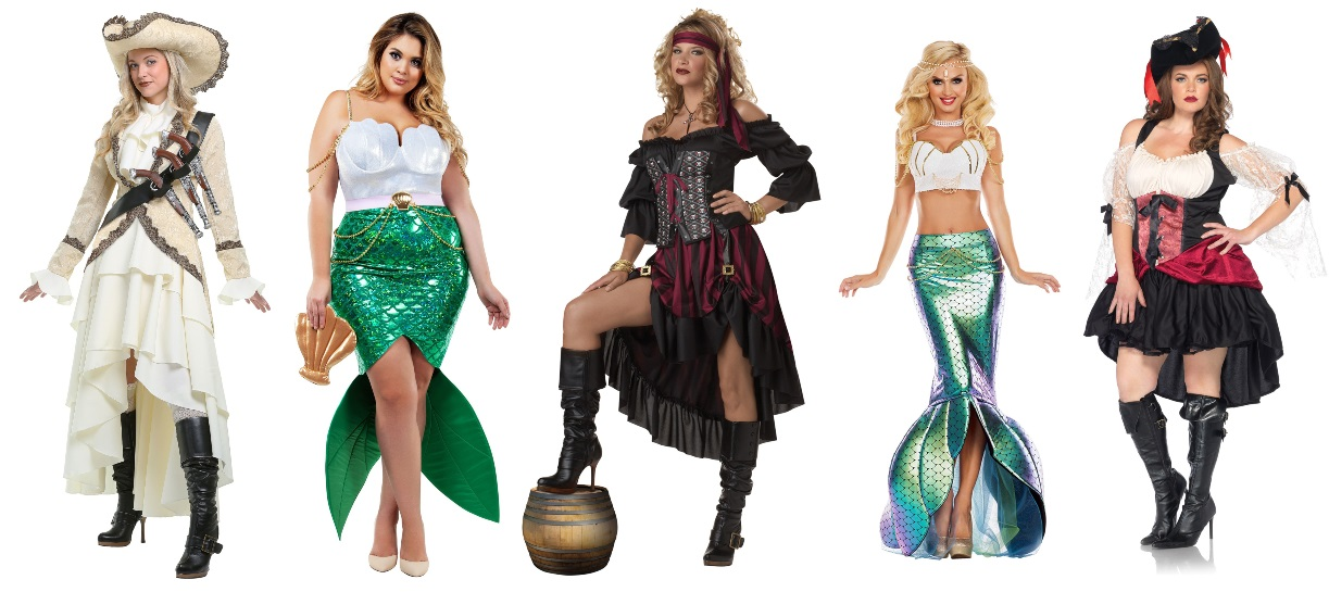 Pirate and Mermaid High Low Dress Costumes