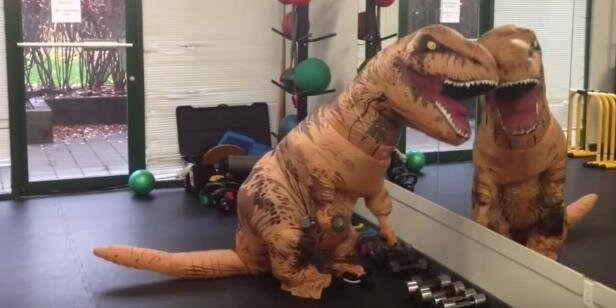 T-Rex at the gym