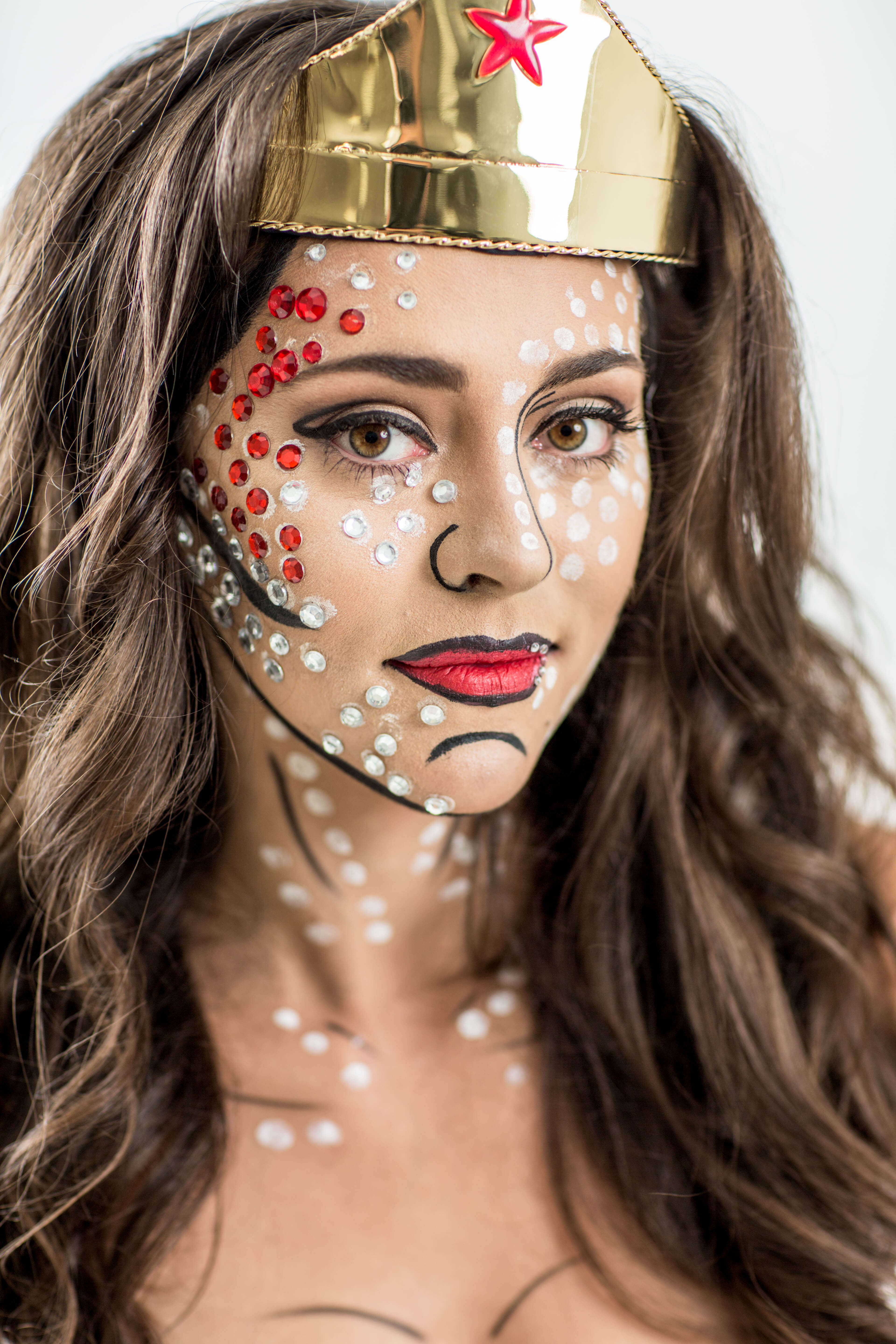 DIY Wonder Woman Costume with Pop Art Makeup. ""
