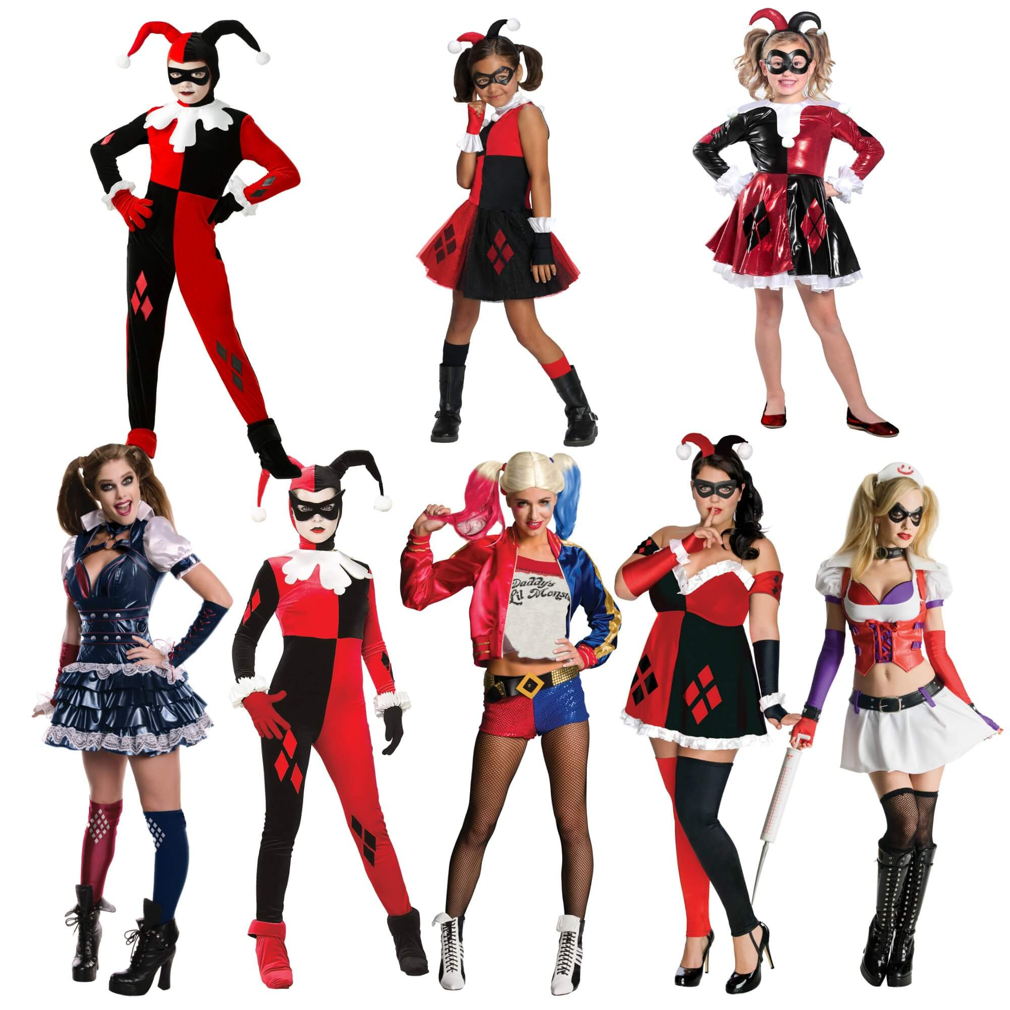 Kids and Adults Harley Quinn Costumes