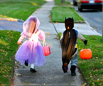 princess and batman trick or treating