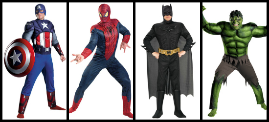 Mens superhero 2012 halloween costume collage