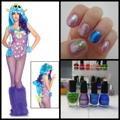 Flirty Gerty monster costume and nail art