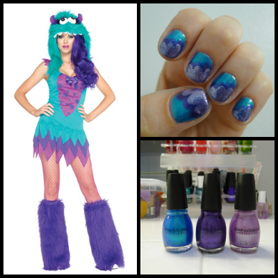 Furry Frankie monster costume and nail art