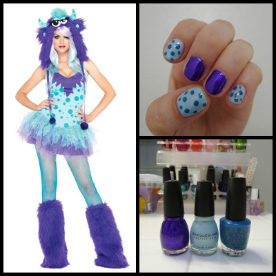 polka dotty monster costume and nail art