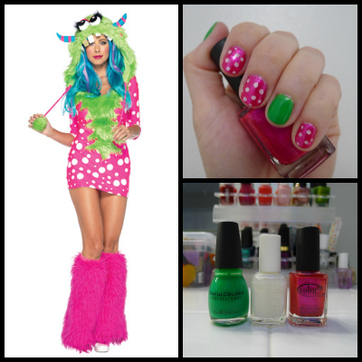 Sexy melody monster costume and nail art