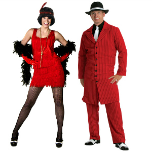 red flapper couples costume
