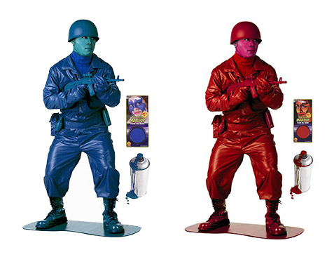 Blue and Red Toy Army Men