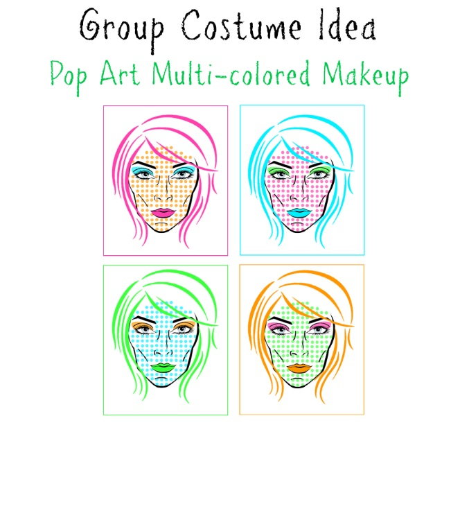 Multi-colored Pop Art Group Makeup