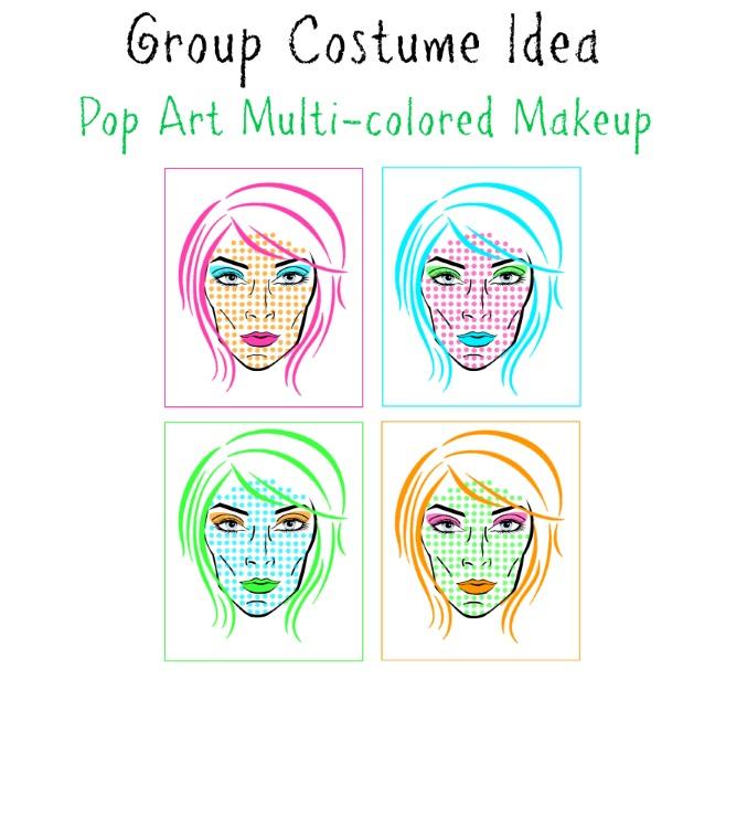Multi-colored Pop Art Group Makeup