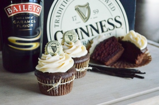 Guinness Chocolate Cupcakes with Bailey's Carmal Irish Cream Frosting Recipe